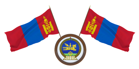 National flag and the coat of arms 3D illustration of Mongolia. Background for editors and designers. National holiday
