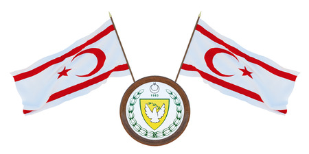 National flag and the coat of arms 3D illustration of Turkish Republic of Northern Cyprus. Background for editors and designers. National holiday