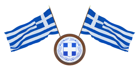 National flag and the coat of arms 3D illustration of Greece. Background for editors and designers. National holiday