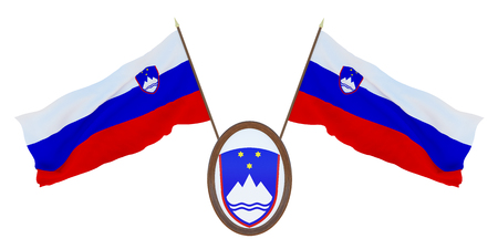 National flag and the coat of arms 3D illustration of Slovenia. Background for editors and designers. National holiday