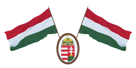 National flag and the coat of arms 3D illustration  of Hungary. Background for editors and designers. National holiday