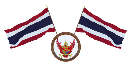 National flag  and the coat of arms 3D illustrationof Thailand. Background for editors and designers. National holiday Stockfoto