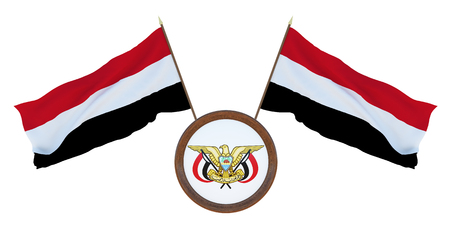 National flag and the coat of arms 3D illustration of Yemen. Background for editors and designers. National holiday