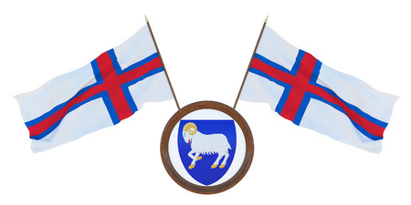 National flag and the coat of arms 3D illustration of he Faroe Islands.. Background for editors and designers. National holiday