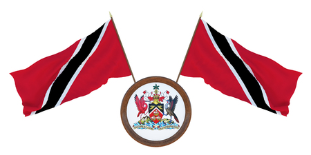 National flag and the coat of arms 3D illustration of Trinidad and Tobago. Background for editors and designers. National holiday