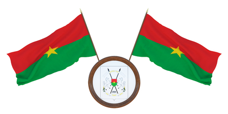 National flag  and the coat of arms 3D illustrationof Burkina Faso.. Background for editors and designers. National holiday