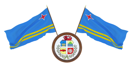 National flag  and the coat of arms 3D illustrationof Aruba. Background for editors and designers. National holiday