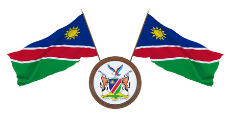National flag  and the coat of arms 3D illustrationof Namibia. Background for editors and designers. National holiday Stockfoto