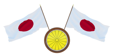 National flag and the coat of arms 3D illustration  of Japan. Background for editors and designers. National holiday
