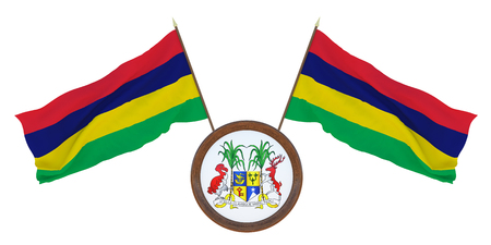 National flag  and the coat of arms 3D illustrationof Mauritius. Background for editors and designers. National holiday