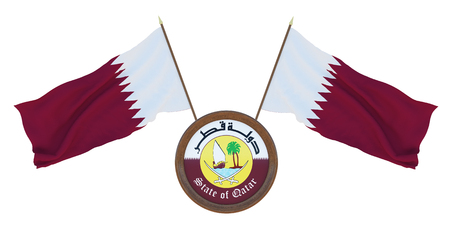 National flag  and the coat of arms 3D illustrationof Qatar. Background for editors and designers. National holiday