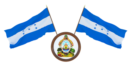 National flag and the coat of arms 3D illustration of Honduras.. Background for editors and designers. National holiday
