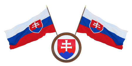 National flag  and the coat of arms 3D illustration of Slovakia. Background for editors and designers. National holiday