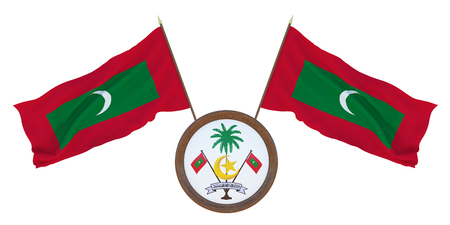 National flag and the coat of arms 3D illustration of Maldives. Background for editors and designers. National holiday
