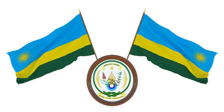 National flag and the coat of arms 3D illustration of Rwanda. Background for editors and designers. National holiday
