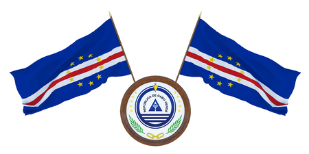 National flag and the coat of arms 3D illustration of Cape Verde. Background  Background for editors and designers. National holiday