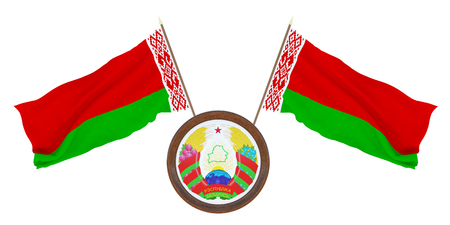 National flag  and the coat of arms 3D illustration   of Belarus. Background  with flag of Belarus.