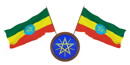 National flag  and the coat of arms 3D illustration  of  Ethiopia. Background  with flag of Ethiopia.