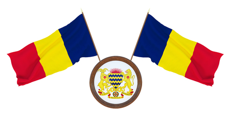 National flag  and the coat of arms 3D illustration  of Chad. Background  with flag of Chad. Фото со стока