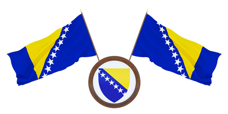 National flag  and the coat of arms 3D illustration  of  fBosnia and Herzegovina. Background  with flag of Bosnia and Herzegovina.