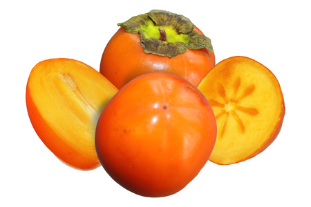 Two juicy fruits persimmon with two halves on an isolated white background 스톡 콘텐츠