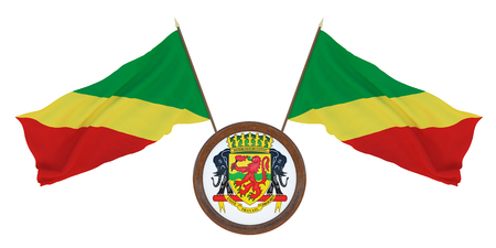 National flag  and the coat of arms 3D illustration  of  Congo brazzaville. Background  with flag of Congo brazzaville Standard-Bild - 116287502