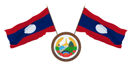 National flag  and the coat of arms 3D illustration  of  Laos. Background for editors and designers. National holiday Stockfoto