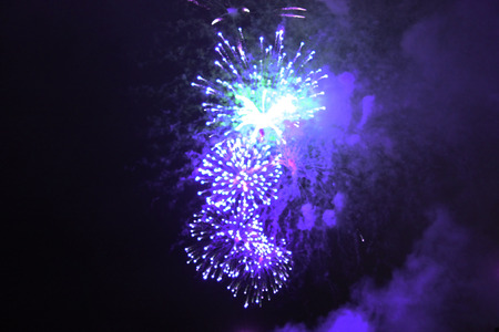 An outbreak of bright purple and blue firework lights. Halloween, Christmas, Independence Day, New Year.