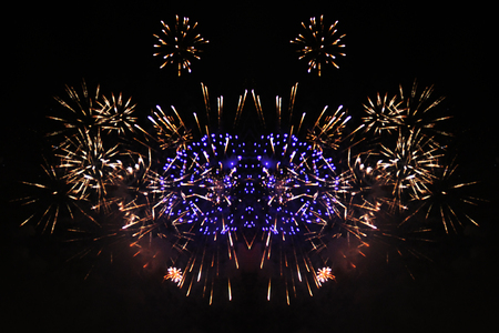 Flame of bright purple and yellow firework lights. during Halloween, Christmas, Independence Day, New Year. Zdjęcie Seryjne
