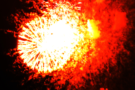 Flame of bright red and yellow firework lights. during Halloween, Christmas, Independence Day, New Year. Zdjęcie Seryjne