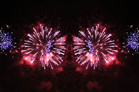Fantastic shine of bright red and blue firework lights. during Halloween, Christmas, Independence Day, New Year. Zdjęcie Seryjne