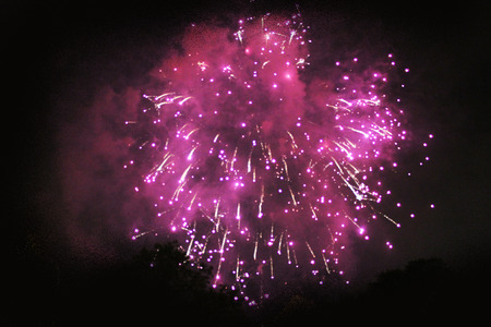 Fairy-tale projection of bright pink firework lights. during Halloween, Christmas, Independence Day, New Year.