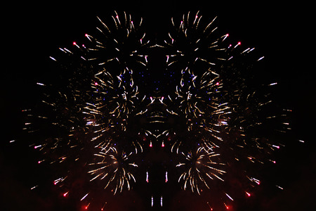 Fabulous radiance of bright yellow firework lights. during Halloween, Christmas, Independence Day, New Year.