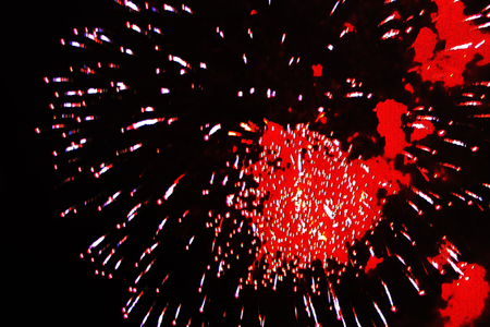 Beautiful bouquet still-life of bright red firework lights. during Halloween, Christmas, Independence Day, New Year. Zdjęcie Seryjne