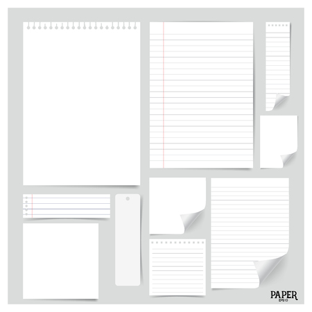 paper note: Collection of various white papers (paper sheets, lined paper, note paper), ready for your message. Vector illustration. Illustration