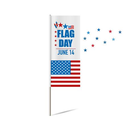 june: Flag day. 14 of June. Vector illustration.