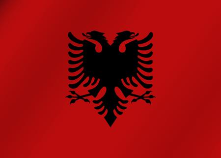 double headed: Flag of Albania. Vector illustration.