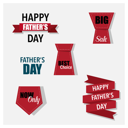 Sale Coupon, voucher, tag. Happy Fathers Day. Illustration