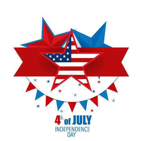 Glücklicher Unabhängigkeitstag Karte, 4. Juli, Vektor abstrakten Hintergrund.