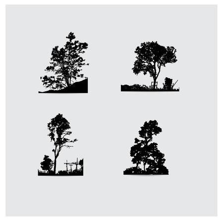 tree silhouettes: Set of vector tree silhouettes.