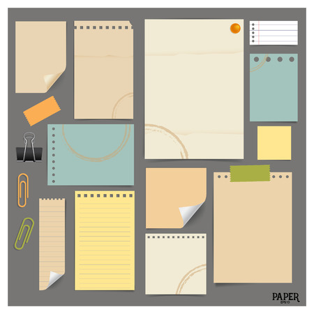 Colección de papeles de época Vaus (hojas de papel, papel de nota), listo para su mensaje. Ilustración del vector.