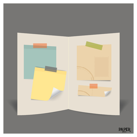 paper note: Collection of various vintage papers (paper sheets, note paper), ready for your message. Vector illustration.
