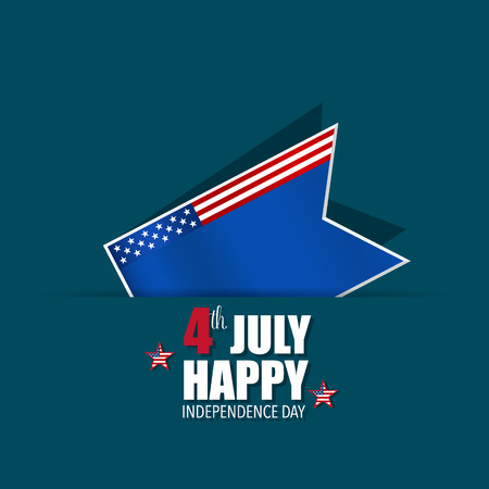 usa flags: Happy independence day card, 4th of July, vector illustration.