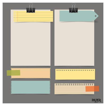 Colección de varios papeles de época (hojas de papel, papel de nota), listo para su mensaje. Ilustración del vector.