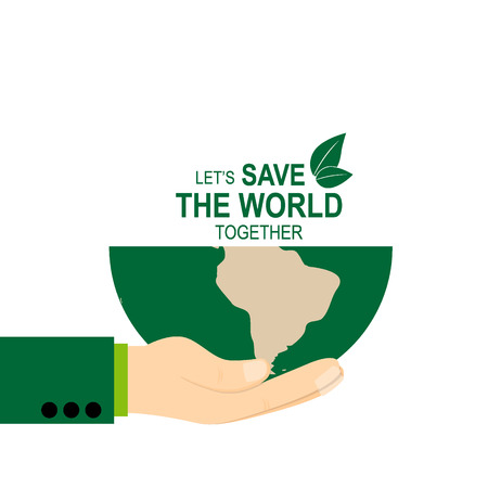 hand holding globe: Save the world poster design template with hand holding globe. Vector illustration