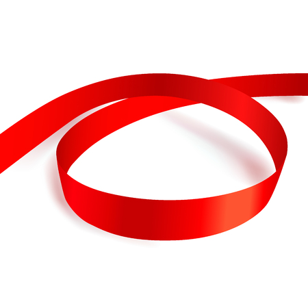 shimmery: Shiny red ribbon on white background. Vector illustration.