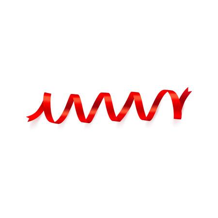 Shiny red ribbon on white background. Vector illustration.