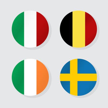 Banderas de Europa. Ilustración del vector.