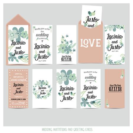 Hochzeitseinladungskarte mit romantischen Blumenvorlagen