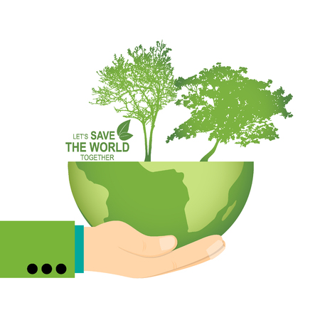 hand holding globe: Save the world poster design template with hand holding globe and tree. Vector illustration